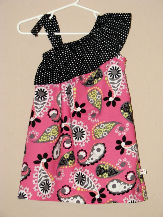 LAST ONE Ruffled One Shoulder Pink Paisley Dress - Baby Toddler Girl Designer Cotton Dress - Perfect for Spring Summer