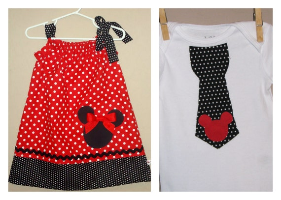 Disney Brother Sister Set - Baby Toddler Girl Boy -Dress and Tie Shirt - Red Black Polka Dots -Perfect for Disney Trips - Mickey Minnie