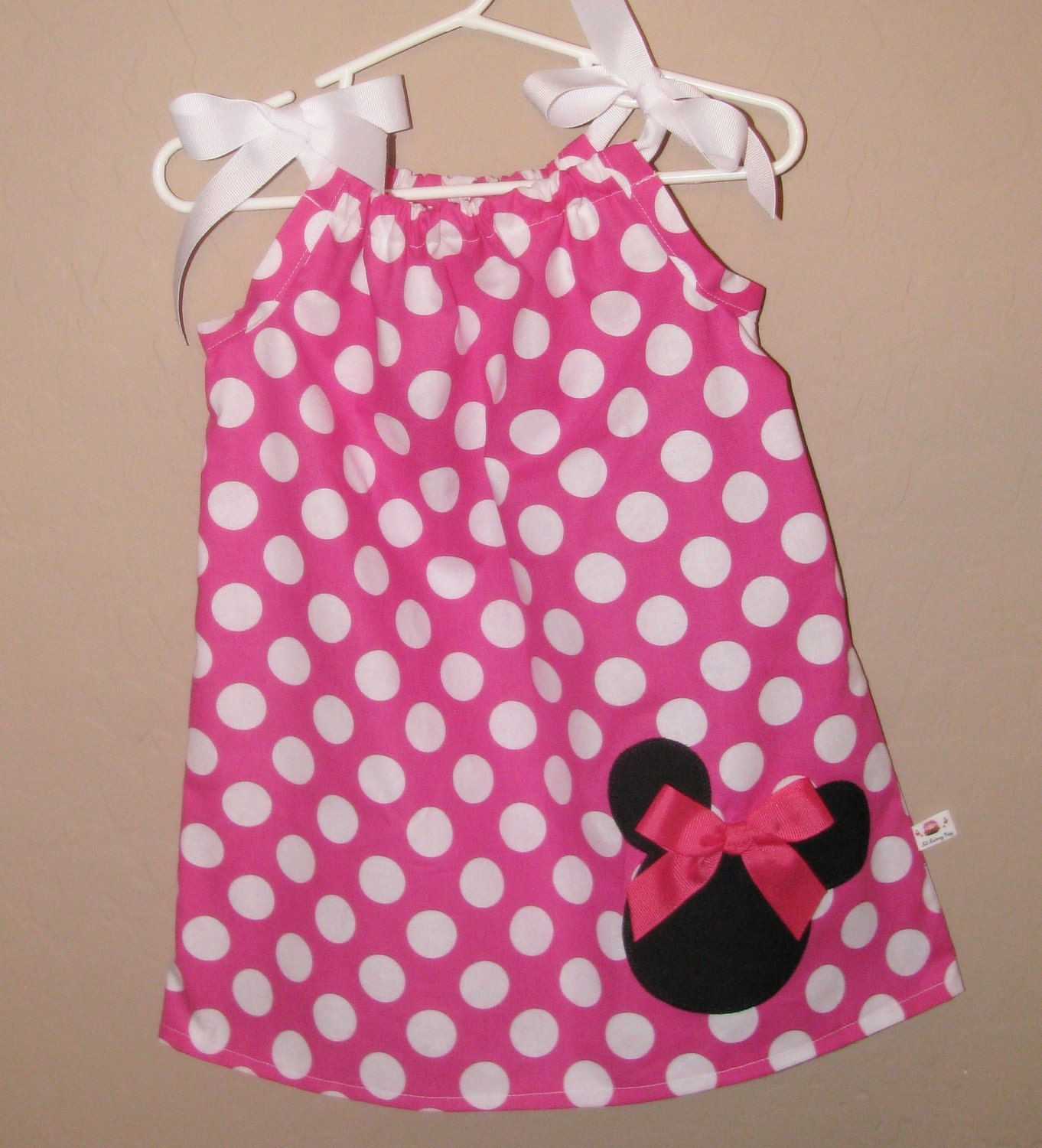 Disney Minnie Mouse Inspired Baby Toddler Dress Pink White