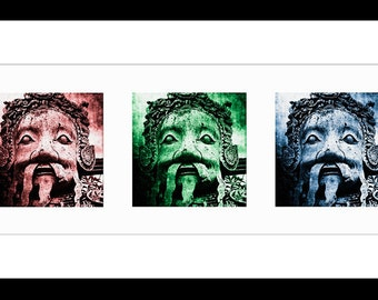 Wat Pho Face 32X12 Triptych Fine Art Print