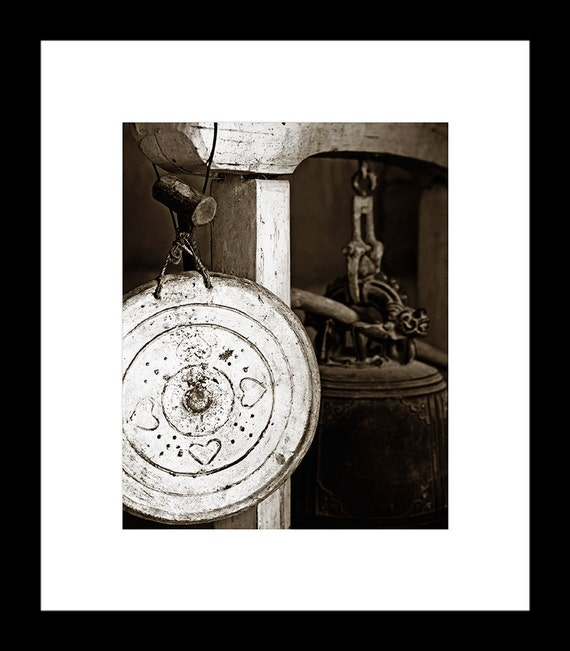 Temple Gong 8X10 Toned Black and White Fine Art Print