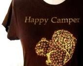 Happy Camper Squirrel Applique Tee JUNIORS XL