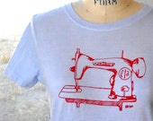 Sewing machine Womens Tshirt, Vintage Sewing machine cotton tee shirt hand dyed and printed pick your size and colors