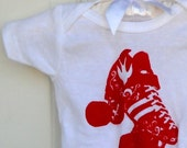 Roller Skate Infant Creeper, Cotton Baby Bodysuit, Onepiece, Red, White, Quad Speed Skater, Roller Derby
