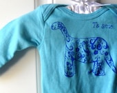Long Sleeved baby Onesie Screen-printed with a Dinosaur, in blue or custom colors