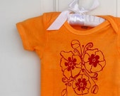Flower Baby Onepiece, Poppies Cotton Baby Bodysuit in orange and red or custom colors