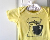 Retro Baby Vintage Mixer cotton baby bodysuit, infant creeper, one piece snapsuit, butter yellow or custom colors