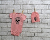 day of the dead sugar skull  onesie and hat gift set in light pink or custom colors