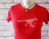 Southwestern Roadrunner Tshirt, Women's Cotton Crewneck Tee shirt, Ladies Shirt, Red Top, Screenprint T Shirt,  Hand Printed, Bird, Western