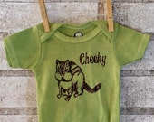 Cheeky Chipmunk baby bodysuit, Cotton Infant Creeper, One Piece Snapsuit, apple green, Baby Shower Gift