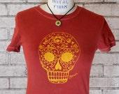 Womans Sugar Skull Tshirt, day of the dead calavera tee shirt,  Scarlet Red