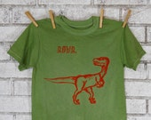 Children Or Toddlers Dinosaur RAWR tee shirt, Raptor, Cotton crew neck tshirt in green or custom colors