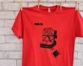 "Men's camera Tshirt, Polaroid camera ""Shake it"" mens cotton crew neck tee shirt, Red Graphic Tee, Funny Shirt, Screen-printed, Photography"