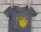Retro Baby Vintage Mixer cotton baby onesie  dyed grey or custom colors