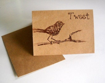 "Cute Little bird on a branch saying ""tweet"" screen printed greeting card blank inside"