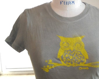 Woman's Owl Tshirt, Woodland Owl on a Branch, Light Olive Drab, Cotton Crewneck Ladies T Shirt