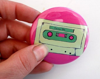 Mix tape Pin back Button  in pink and green or custom colors, Great stocking stuffer