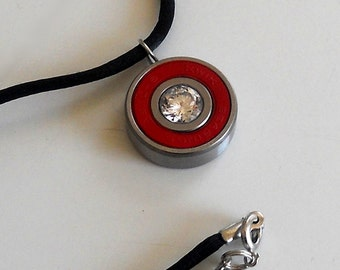 Roller Derby Bling, Bones Reds Bearing Necklace with Beautiful Cubic Zirconia Center