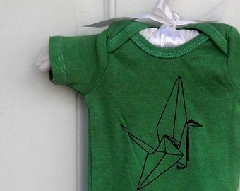 Paper Crane, Baby Bodysuit in Kelly Green, Cotton Infant Creeper, One Piece Snapsuit, Origami, Baby Shower Gift