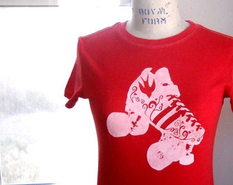 Roller Skate T shirt Ladies Roller Derby Skate tshirt in Red Cotton Crewneck Short Sleeved Hand Printed Graphic Tee Shirt, Skating Skater