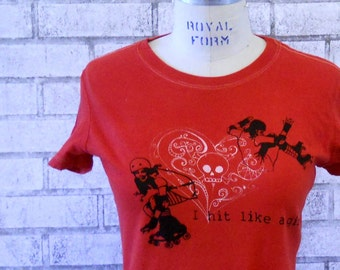 Roller Derby T Shirt, I Hit Like a Girl, Red, Skating, Skater, Cotton Crewneck Graphic Tee, Tshirt, Ladies clothing, screenprinted,  Women
