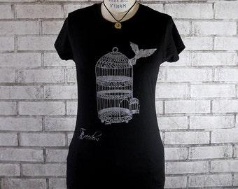Bird Tshirt, Bird Flying away from birdcage Freedom Tee shirt, black tshirt