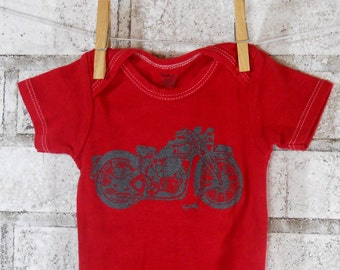 Red Motorcycle Baby One Piece, Gender Neutural baby bodysuit, dyed poppy red or custom colors