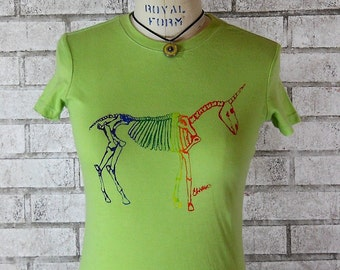 Womens Tshirt, Rainbow unicorn skeleton tee shirt,  apple green or custom colors, Ladies cotton crewneck