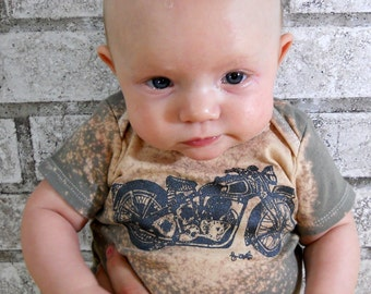 Motorcycle Baby One Piece, cotton baby bodysuit, infant creeper, one-piece snapsuit dyed grey with splatter treatment