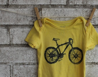 Ready to Ship Mountain Bike bodysuit, infant creeper, one piece snapsuit in yellow Great Baby Shower Gift 18 months