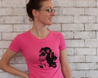 Day of The Dead TSHIRT, Cotton Crewneck Women's Tee Shirt, Hot Pink or, Sugar Skull Makeup, Screen-printed Shirt, Short Sleeved, Junior Fit