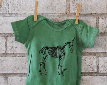 Unicorn Skeleton Baby Onepiece In Bright Kelly Green, Short Sleeved Infant Romper, Punk Baby Clothing, Cotton Bodysuit, Screenprinted Shirt