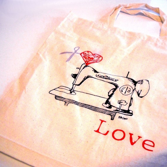 I Love to Sew Tote or Reusable Shopping Bag With Sewing Machine, Great stocking stuffer, hand printed,s creenpritned, Light tote