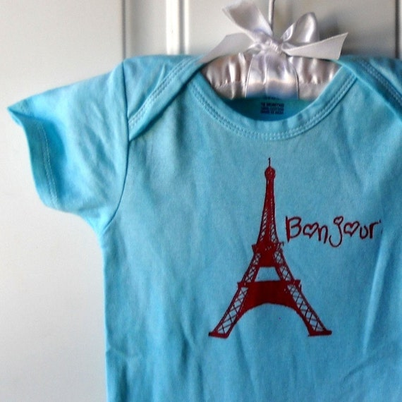 Bonjour baby bodysuit, eiffel tower infant creeper, one piece snapsuit, light blue or other colors