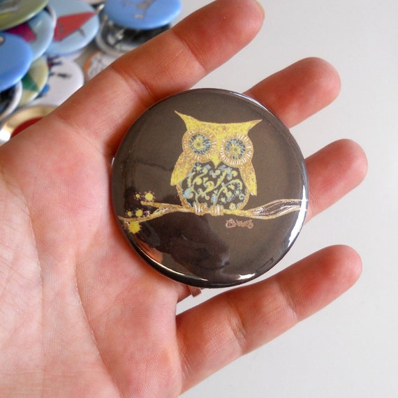 Owl on a Branch  Pin back Button in dark brown and yellow or custom colors