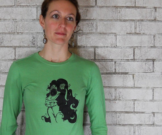 Ladies Long Sleeved Tshirt, Woman in skull face, day of the dead, kelly green Fine Jersey Cotton, Hand Printed, Screenprint, Sugar Skull