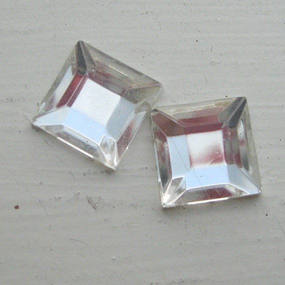 vintage square cut clear faceted glass cabochon flat back with foil 12 mm (2)