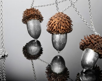 3 Sterling Silver Acorns chandelier necklace