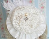 Fashion Fades, Style Last Forever - Thai Silk and Feathered Headband - IVORY BRIDAL Vintage Inspired