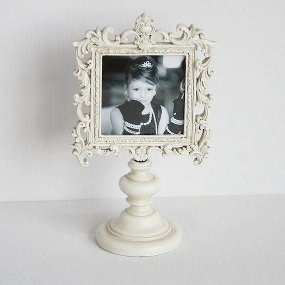 "Shabby Chic 4"" x 6"" Standing Square Photo Frame, Vintage White Color"