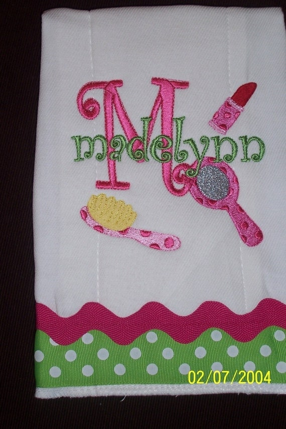 Glamour Girl Embroidered Personalized Premium Burp Cloth