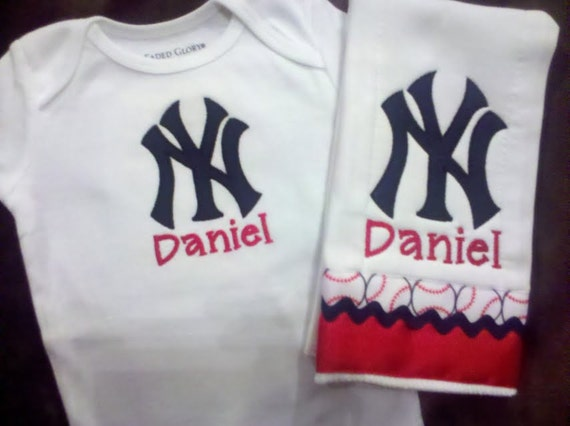Personalized New York Yankees Embroidered Onesie and Burp Cloth