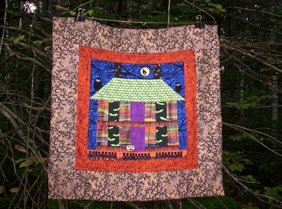 Halloween Art Quilt Wall Hanging, Spooky House, Hand quilted, OOAK