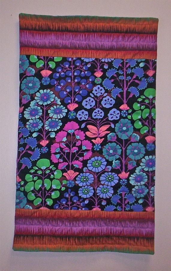 Art quilt wall hanging FLYING CARPET No. 14 Kaffe Fassett fabric, original hand quilted