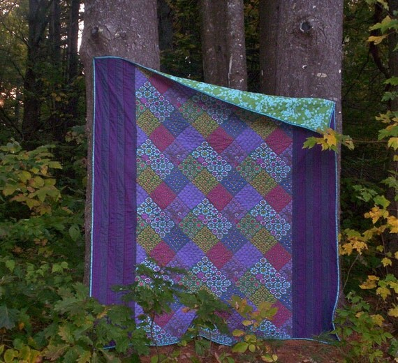 Hand quilted Lap quilt twin quilt Kaffe Fassett  Amy Butler fabric