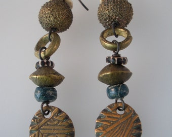 Bronze and African Bead Earrings