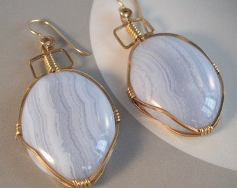 Agate and Gold Earrings Wire Wrapped
