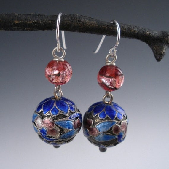 Vintage Enamel  Earrings of Chinese Cloisonne and Rasberry Foil Glass Beads