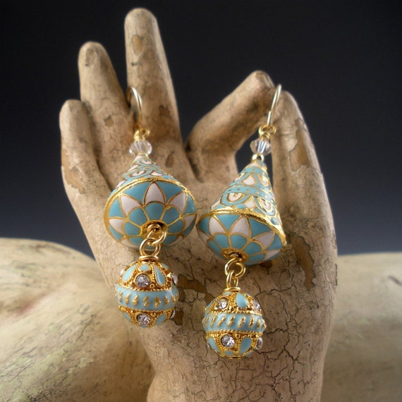 Turquoise Enamel and Gold Wash Earrings with Crystals