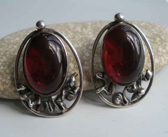 Cherry Amber and Sterling Earrings
